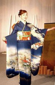 A young lady rocking a furisode kimono.