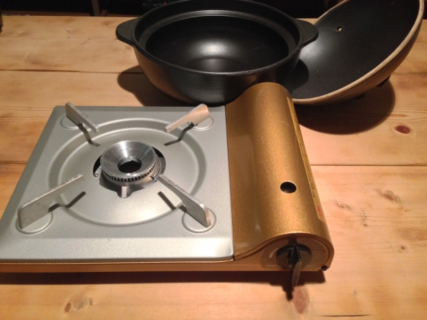 You can cook with your nabe pot on your kitchen stove or on a portable gas burner. Gas burners are fun to bring to the table and allow everyone to cook together!