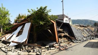 MASHIKI, JAPAN - APRIL 15: A house is seen collapsed a day after the 2016 Kumamoto Earthquake on April 15, 2016 in Mashiki, Kumamoto, Japan. As of April 15 morning, at least nine people died in the powerful earthquake with a preliminary magnitude of 6.4 that struck Kumamoto Prefecture on April 14, 2016. (Photo by Masterpress/Getty Images)